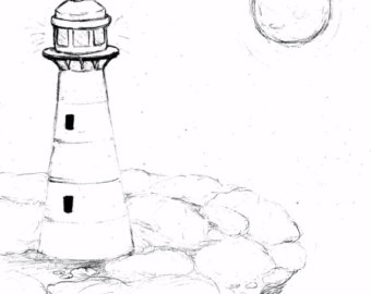 340x270 Lighthouse Drawing Etsy