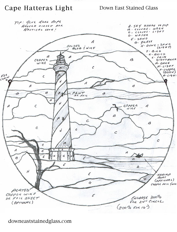 612x804 Stained Glass Pattern Club~ Cape Hatteras Lighthouse