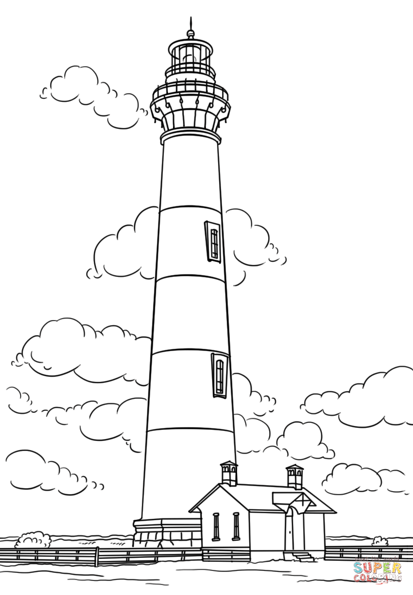 824x1186 Bodie Island Lighthouse, North Carolina Coloring Page Free