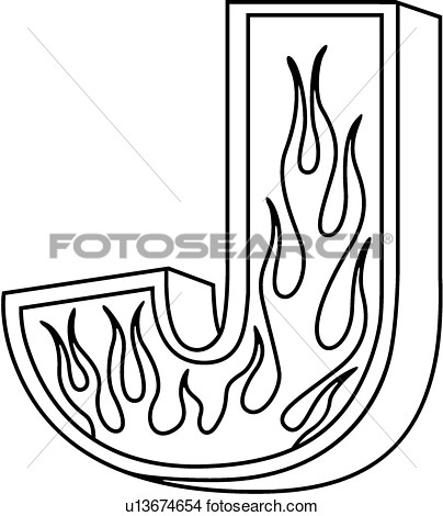 404x470 Clipart Of , Alphabet, Capital, Flaming Block, Hand Lettered, J