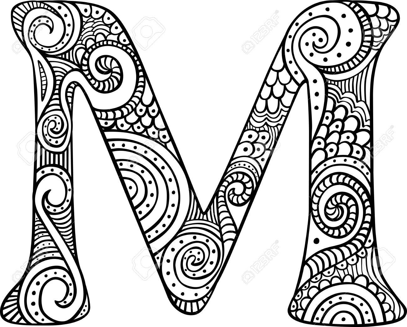 1300x1043 Hand Drawn Capital Letter M In Black