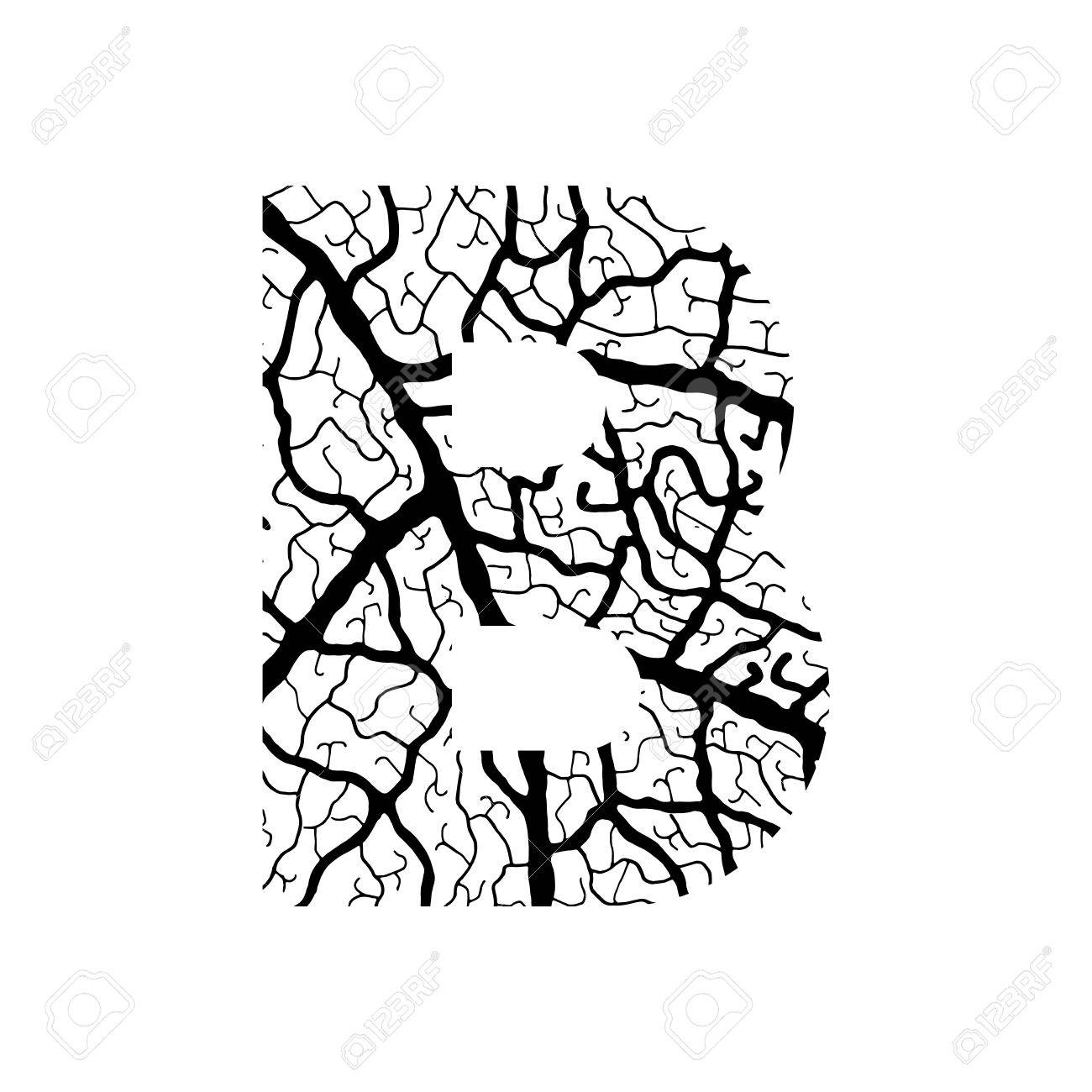 1300x1300 Nature Alphabet, Ecology Decorative Font. Capital Letter B Filled