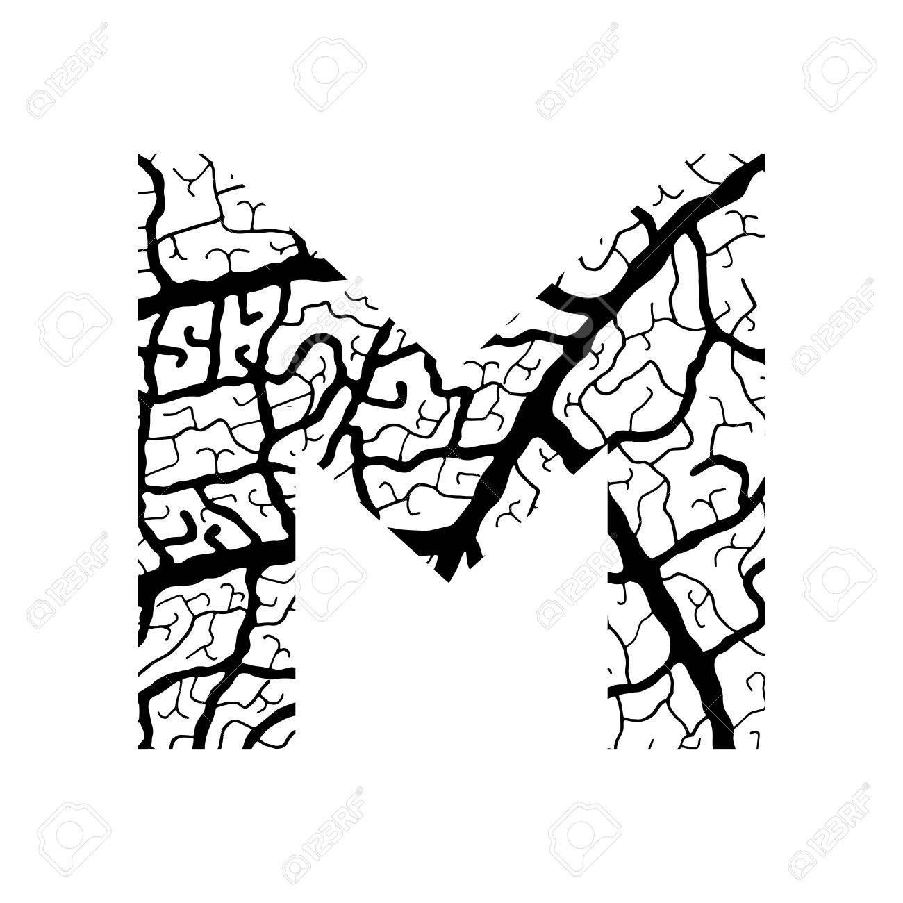 1300x1300 Nature Alphabet, Ecology Decorative Font. Capital Letter M Filled