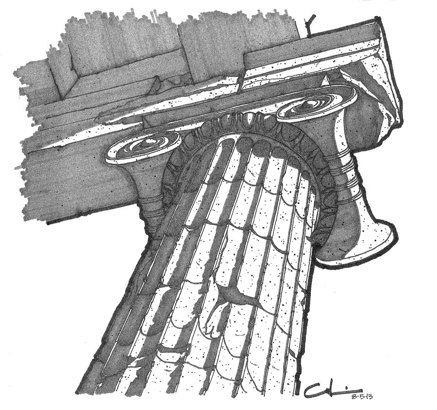 900x846 Roman Ionic Column Capital Drawing By Calvin Durham