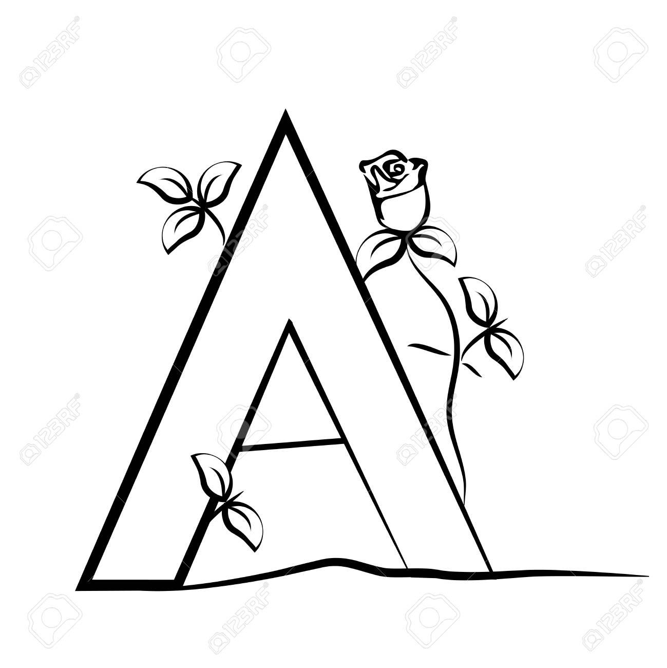 1299x1300 Vector Capital Initial Letter A Rose. Decorative Font