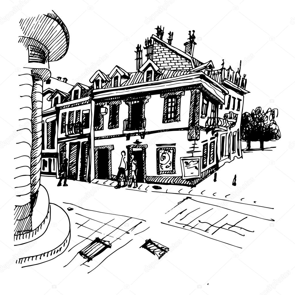 1024x1024 Black And White Hand Drawing Of Cetinje Street