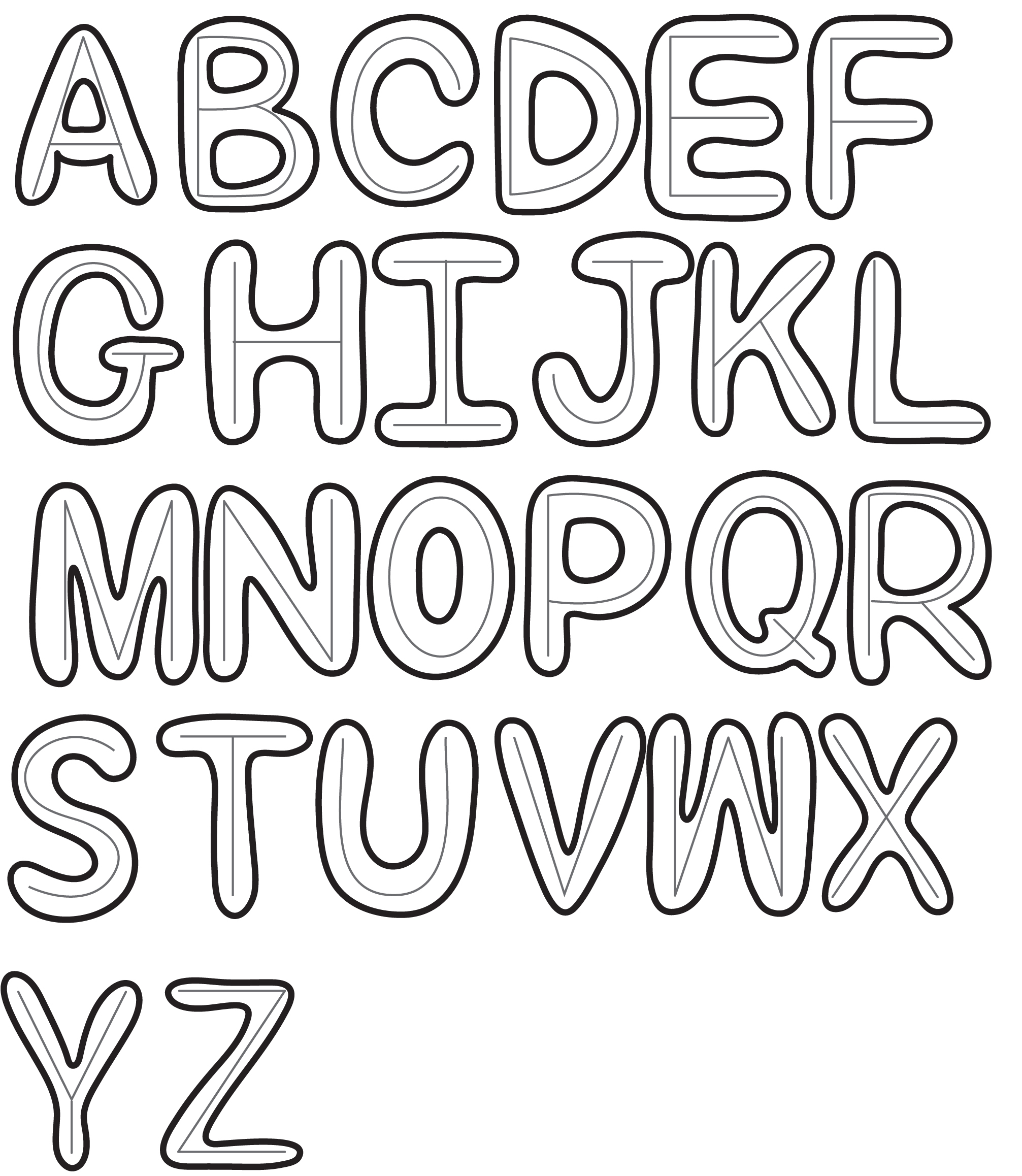 2013x2316 Bubble Capital Letters Drawings Of Bubble Letters How To Draw