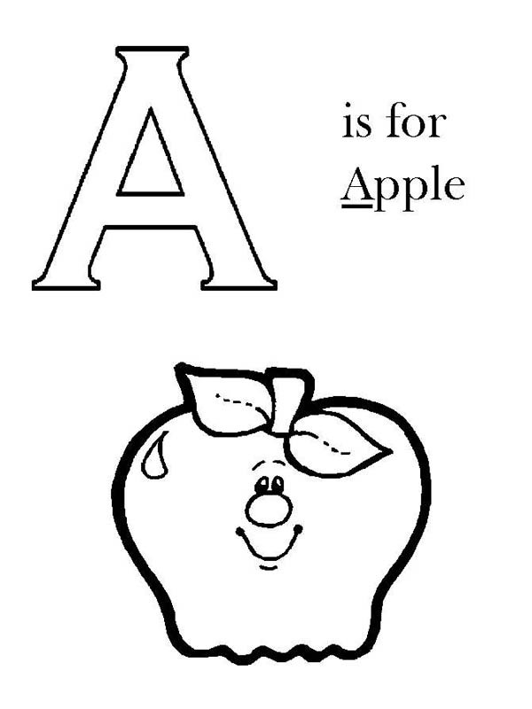 600x800 Capital A Is For Apple On Learning Letter A Coloring Page Best