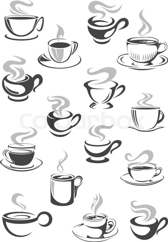 557x800 Coffee Cup And Tea Mug Icon Set. Cup Of Hot Beverage With Espresso