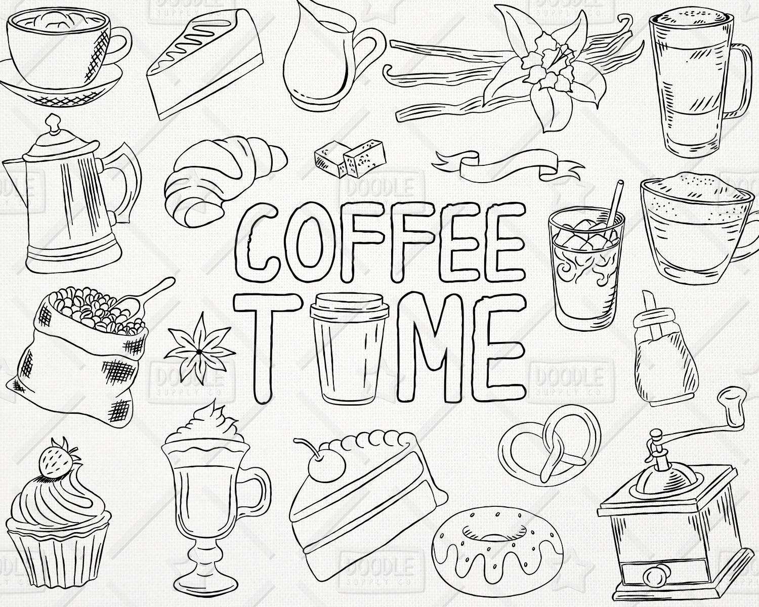 1500x1200 Doodle Coffee Vector Pack, Coffee Shop, Bakery, Cafe Clipart