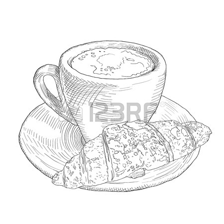 450x450 Hand Drawn Coffee Cup And Croissant. Vinage Llustration