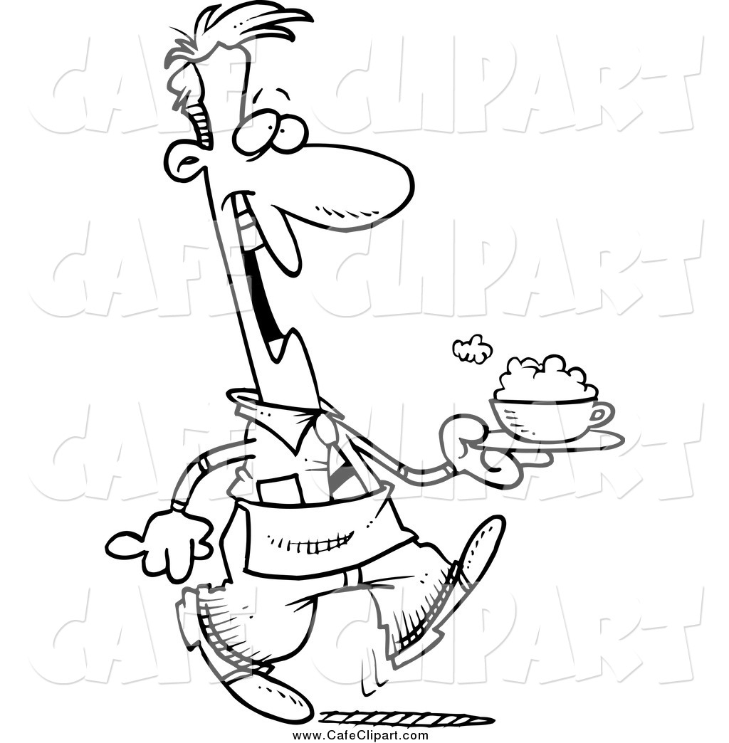 1024x1044 Vector Cartoon Clip Art Of A Black And White Happy Guy Waiter