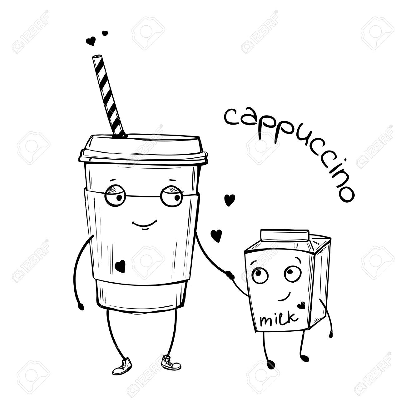 1300x1300 Vector Sketch Illustration Of Cappuccino And Milk Cute Characters
