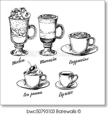 362x382 Art Print Of Vector Vintage Hand Drawn Coffee Types Set