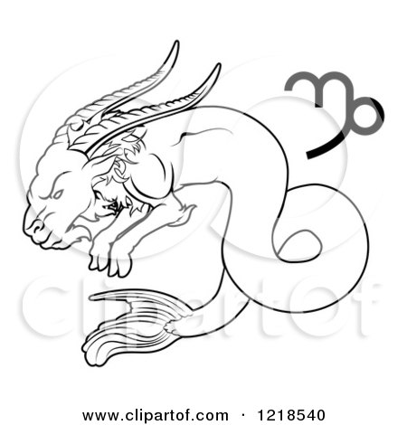 450x470 Clipart Of A Black And White Astrology Zodiac Capricorn Sea Goat