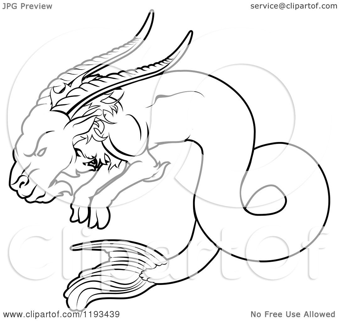 1080x1024 Clipart Of A Black And White Line Drawing Of The Capricorn Zodiac