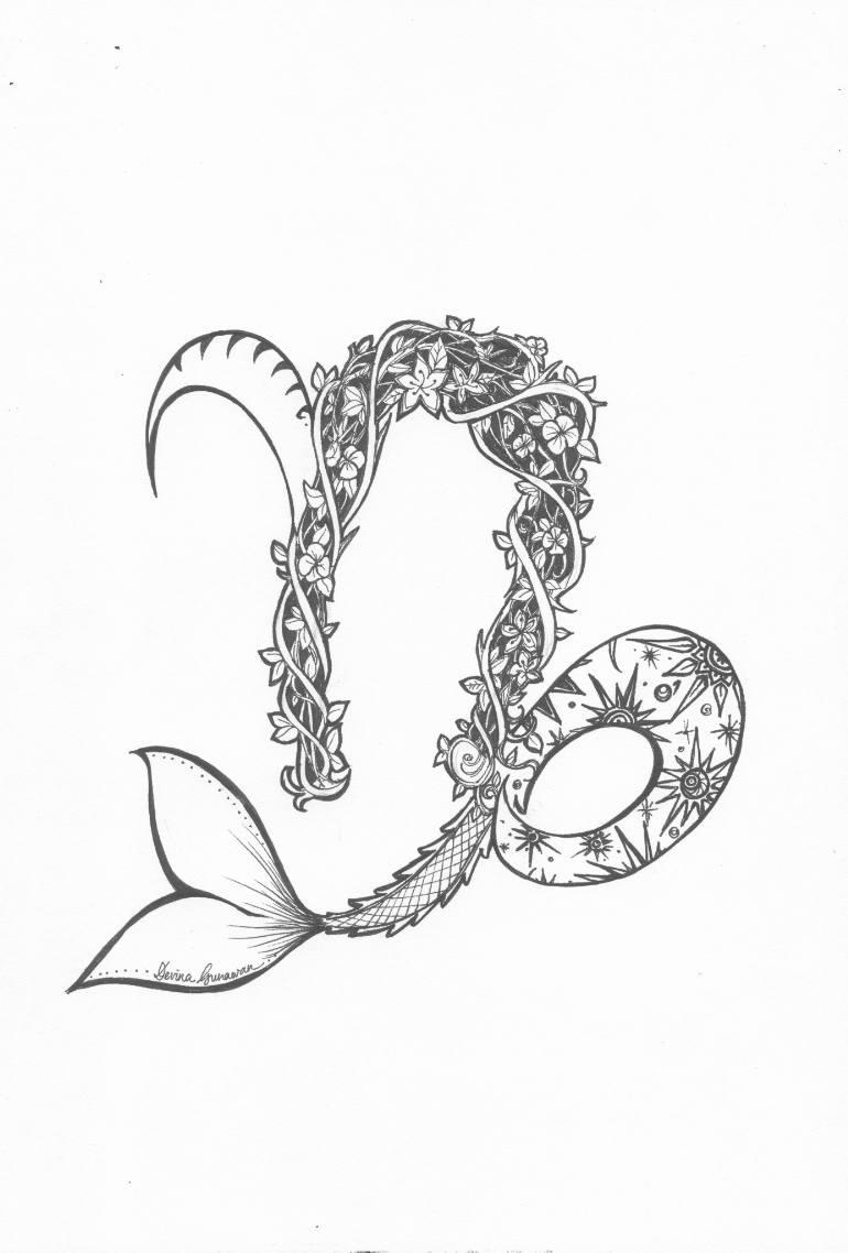 770x1138 Saatchi Art Capricorn The Wise Drawing By Devina Gunawan
