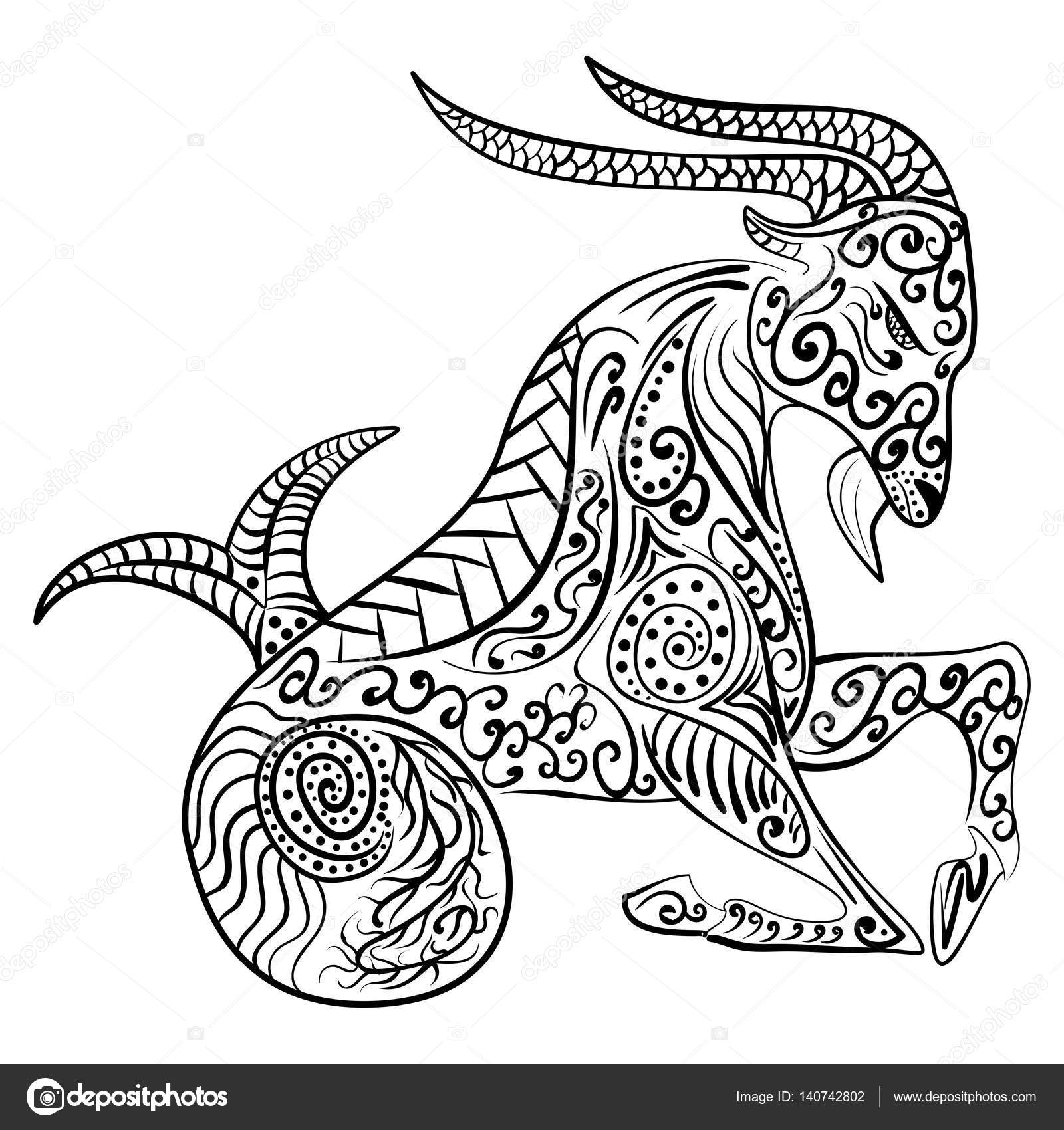 1600x1700 Zentangle Zodiac Capricorn Vector Illustration Stock Vector