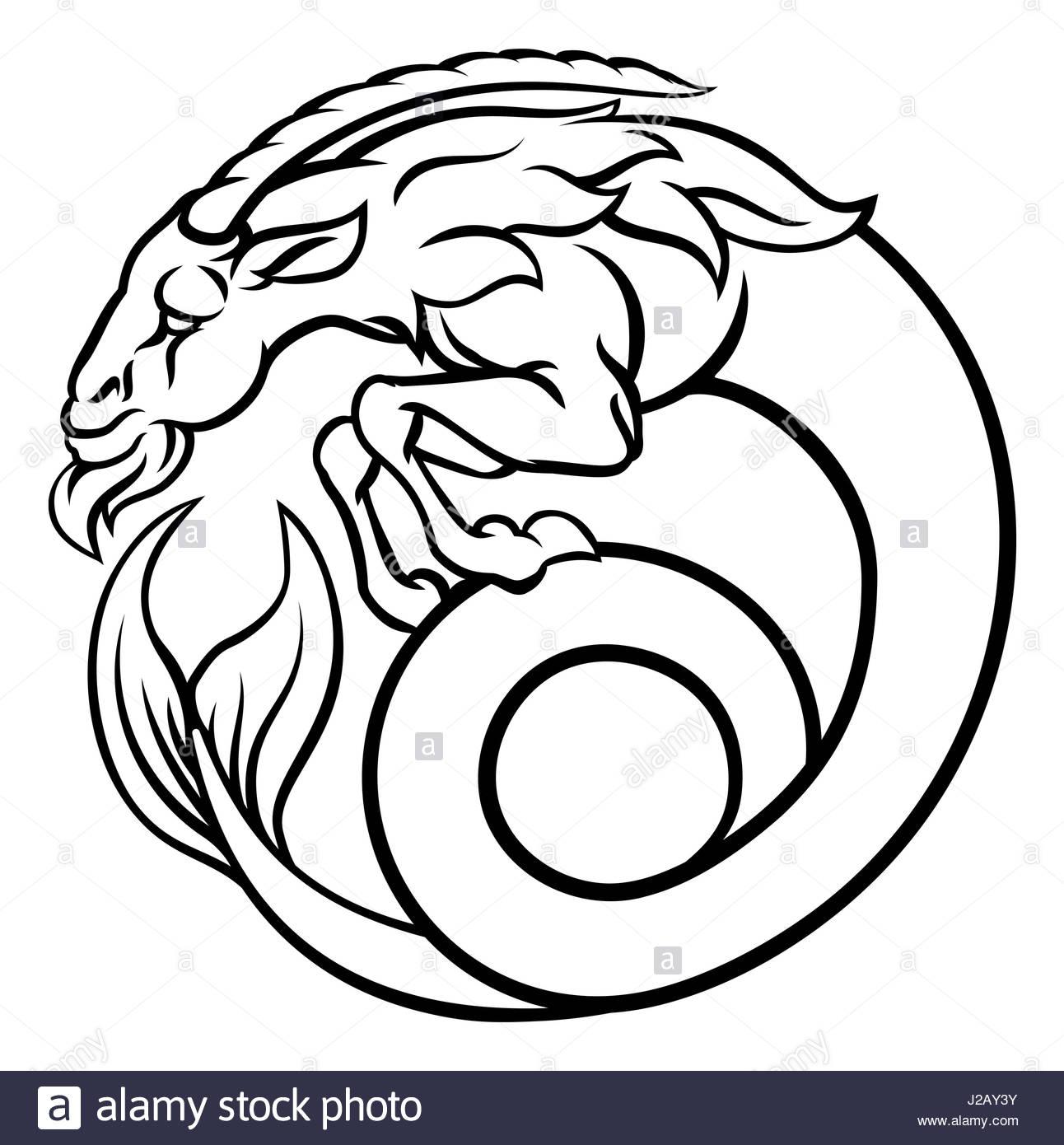 1292x1390 Astrology Zodiac Signs Circular Capricorn Sea Goat Horoscope