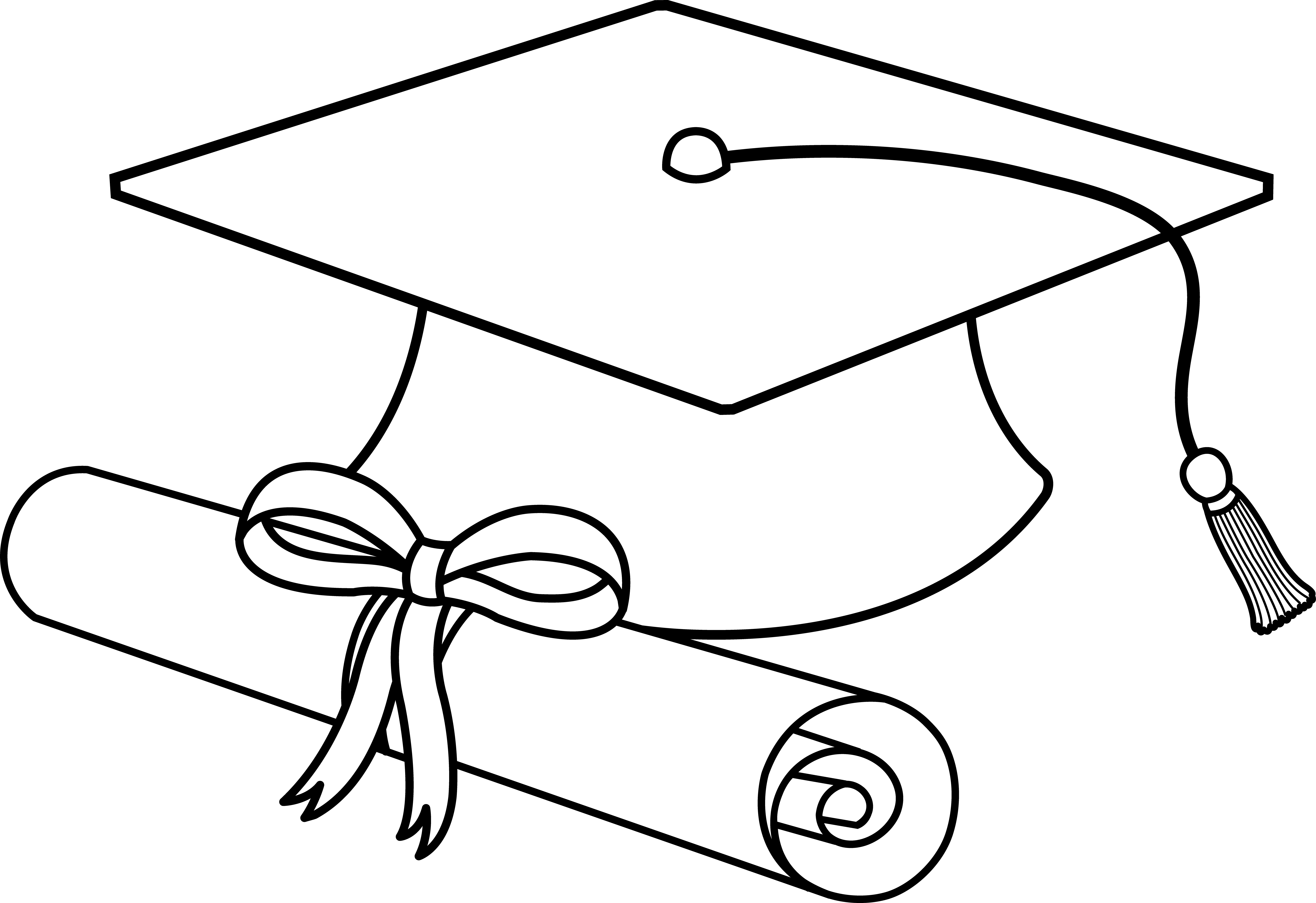 7334x5034 Flying Graduation Caps Clip Art Graduation Cap Line Art