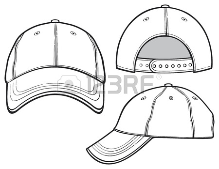 450x349 Baseball Cap Outline Silhouette Template Isolated On White. Vector