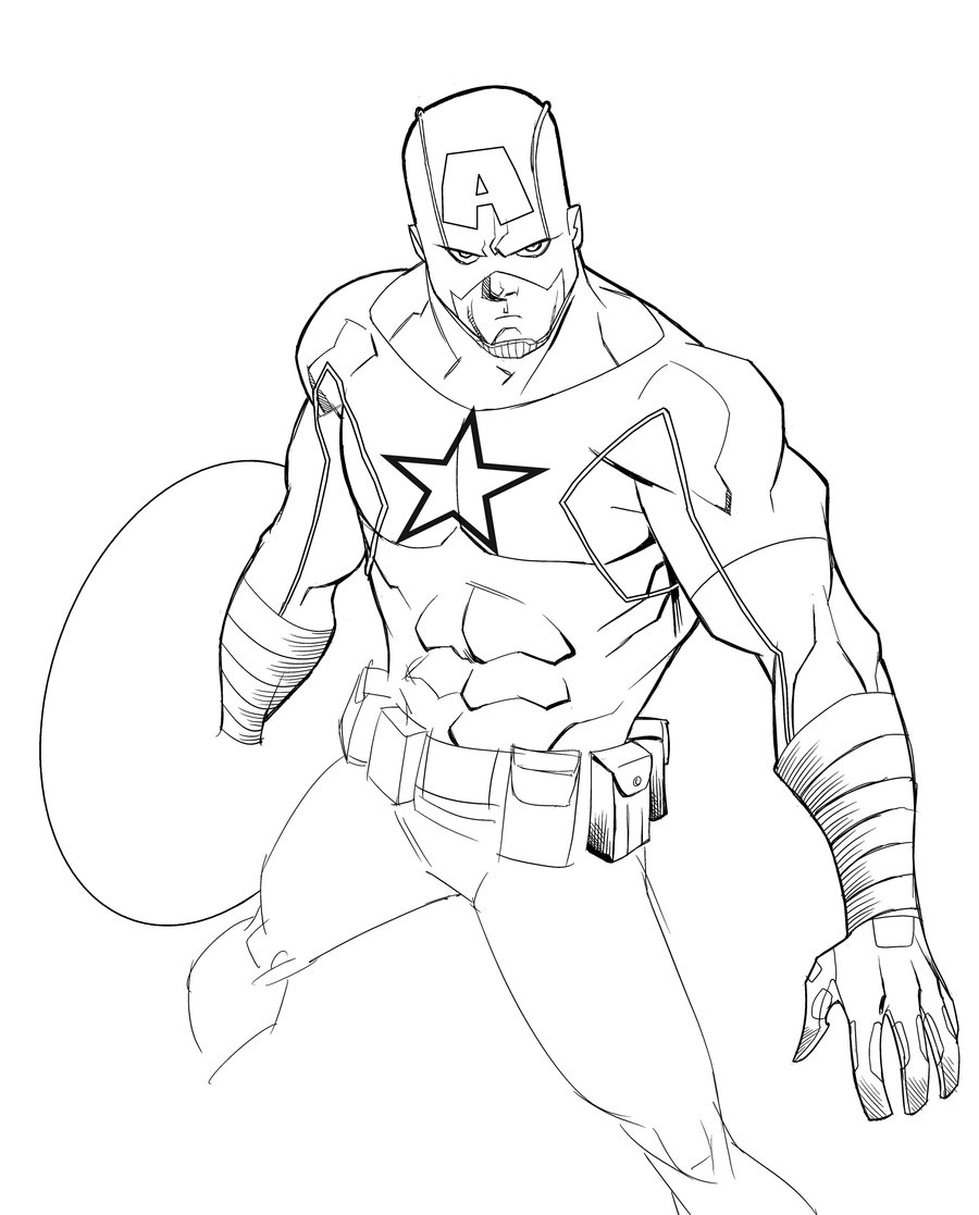 900x1117 Captain America By Theadriannelson Lineart Capt America