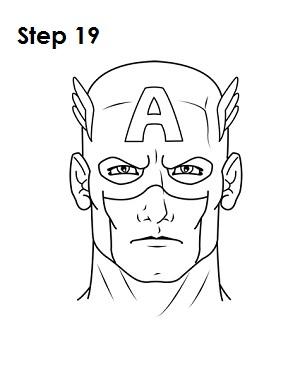 300x388 Draw Captain America Step 19 Hero Symbols Capt America
