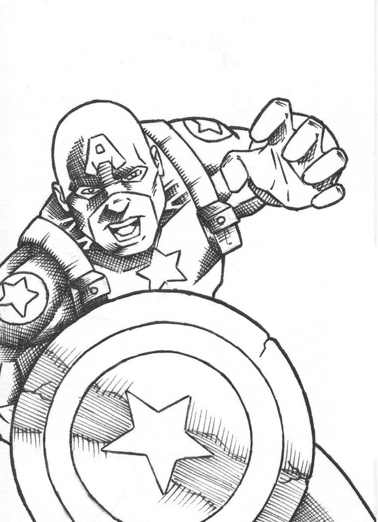 760x1050 Free Printable Superhero Captain America Coloring Pages For Kids