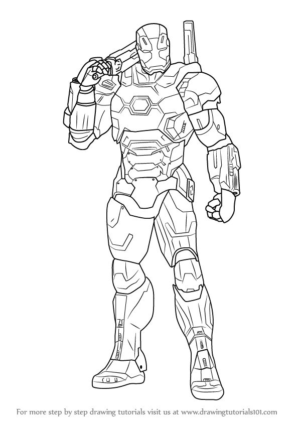 596x843 Step By Step How To Draw War Machine From Captain America Civil