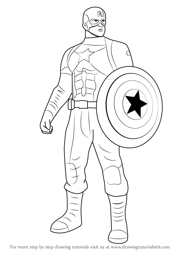 596x843 Captain America Drawings Captain America Drawings Step By Step