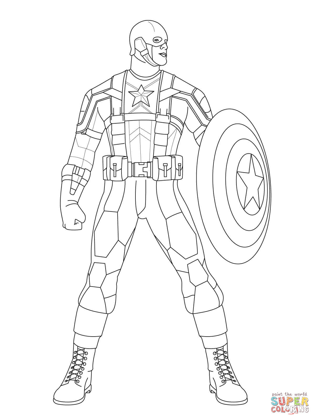 1200x1600 Captain America Ready To Fight Coloring Page Free Printable