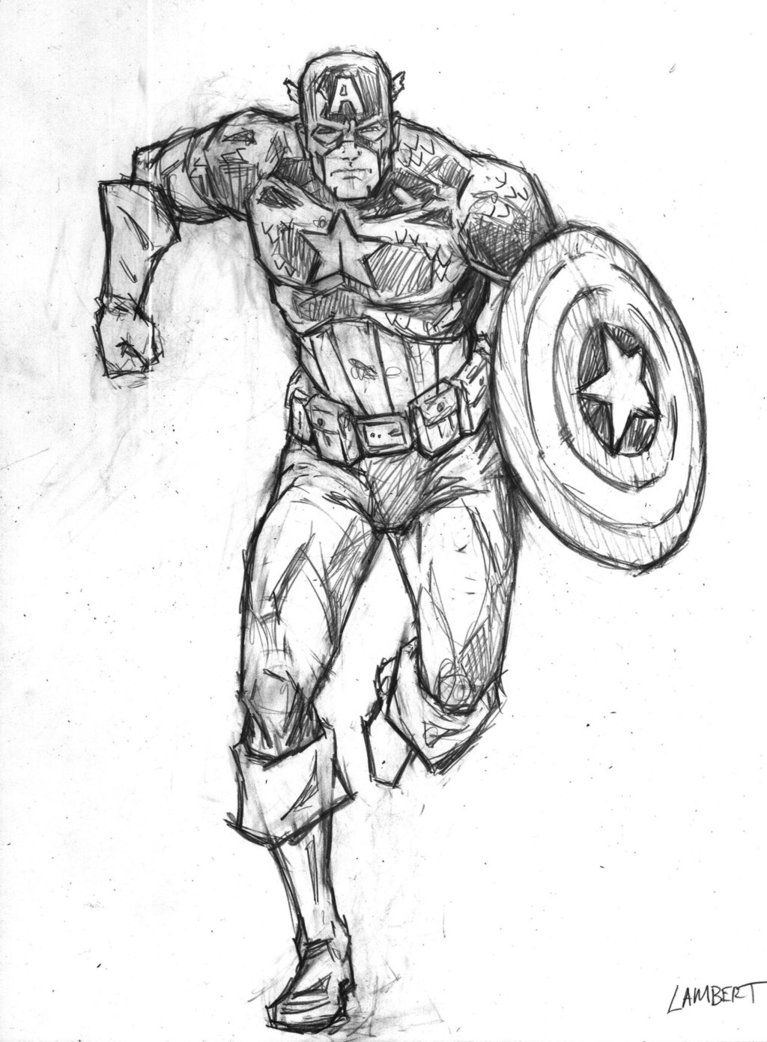 767x1042 Captain America Sketch By Atelierlambert