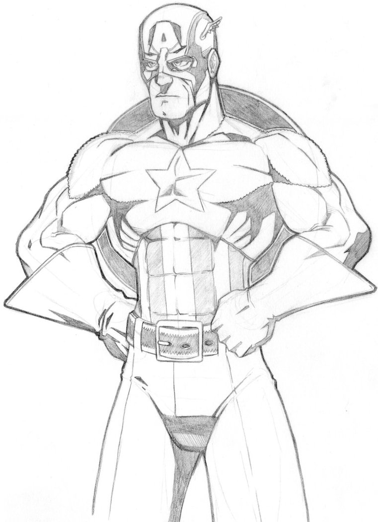 761x1049 Captain America Drawing By Jag8519
