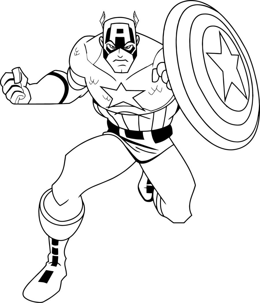 900x1047 Free Captain America Coloring Pages With Captain America Page