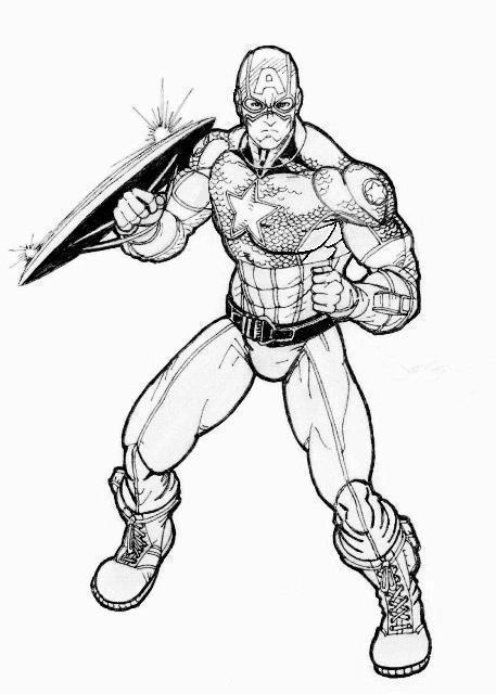 457x640 Captain America Action Pose Bw By Lazy Doodler
