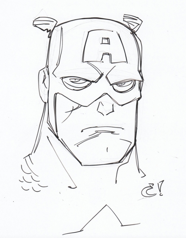 626x800 Craig Rousseau Captain America Head Sketch, In Justin Leigh