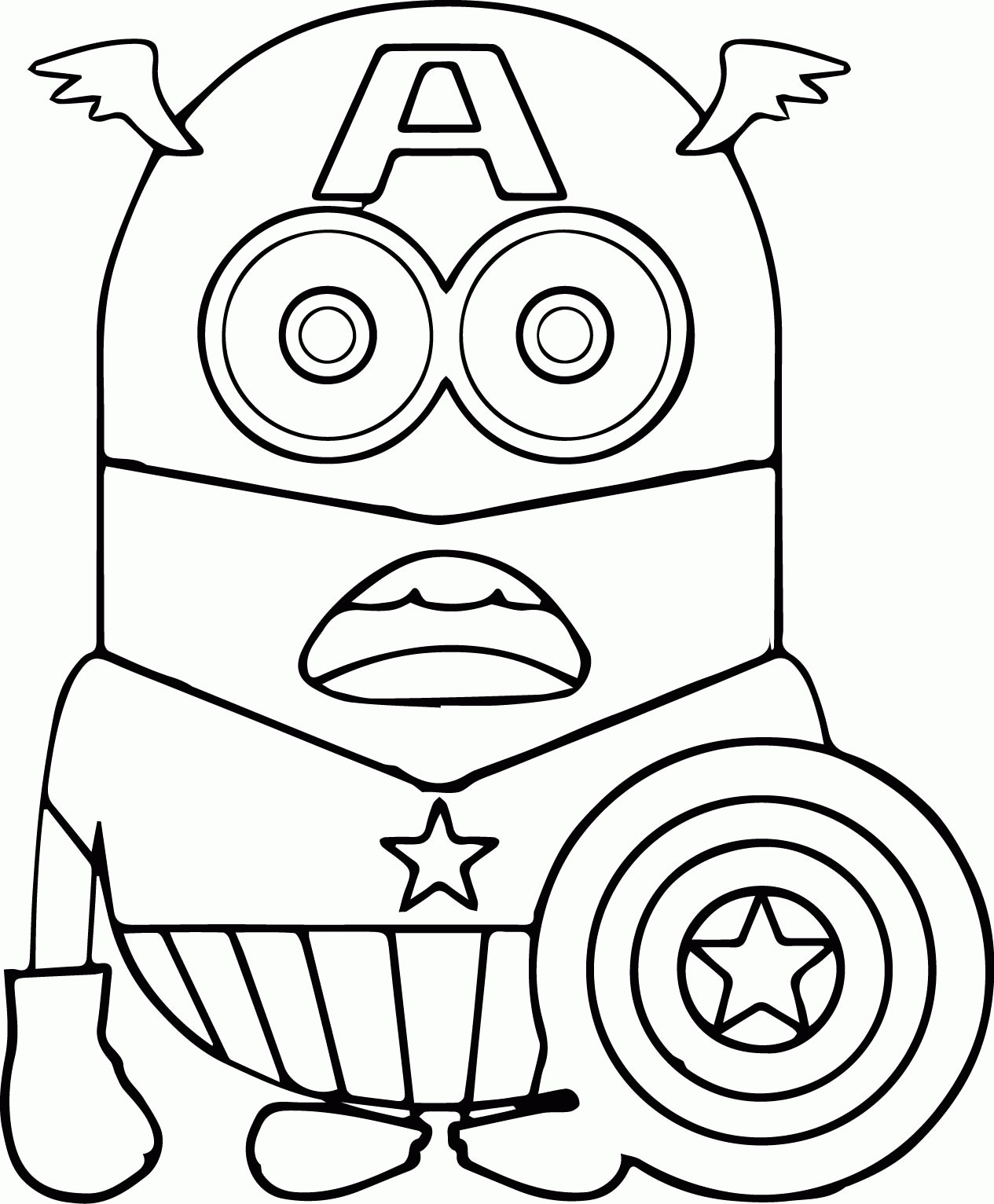 1265x1532 Minion Coloring Pages Easy New Captain America Face Coloring Pages