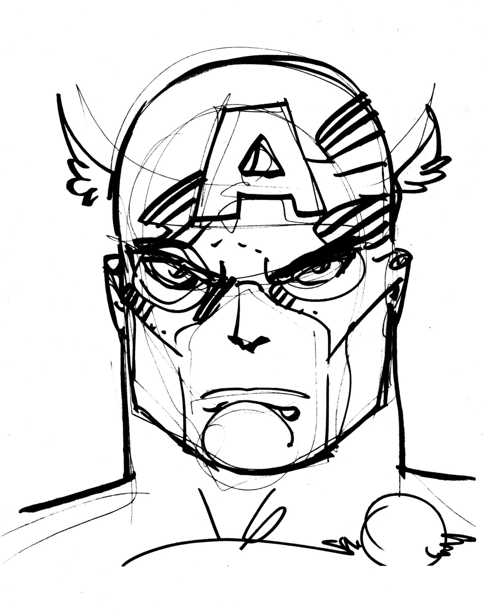 1587x2000 Walt Simonson 2009 Inked Captain America Drawing