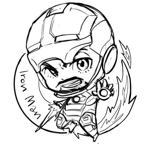 500x500 Captain America Chibi Tumblr Lineart Ironman
