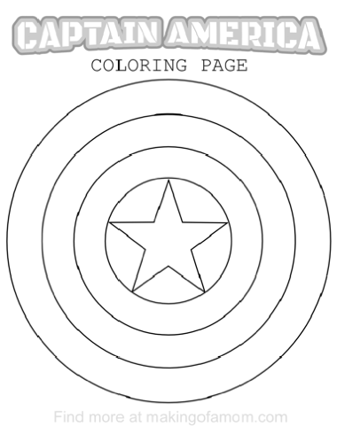 380x490 Captain America Shield Coloring Pages
