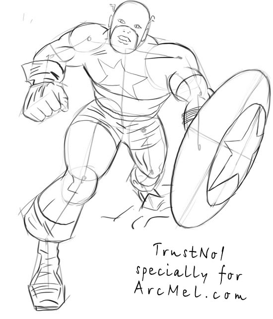 550x642 How To Draw Captain America Step By Step