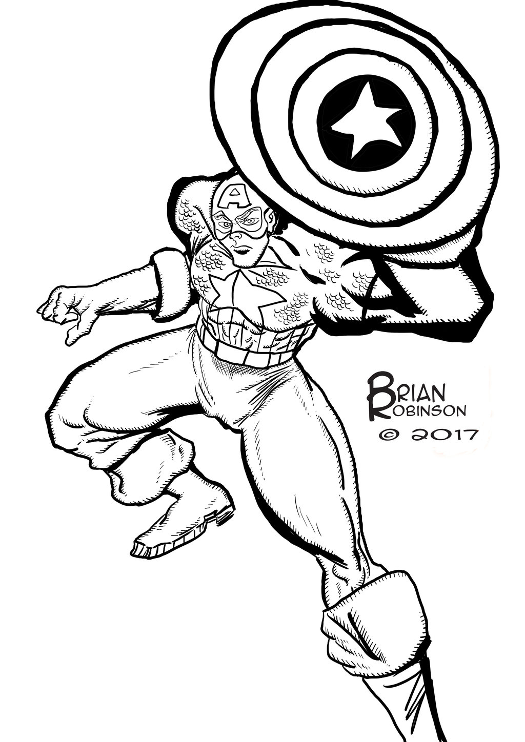 1024x1448 Captain America Pinup Drawing By Brianrobinson