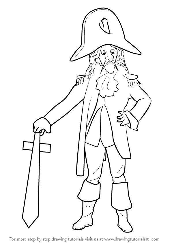596x843 Learn How To Draw Captain Cook (Mascots) Step By Step Drawing