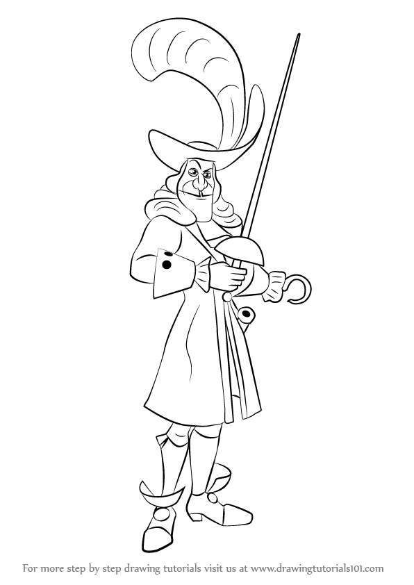 596x842 Learn How To Draw Captain Hook From Peter Pan (Peter Pan) Step By