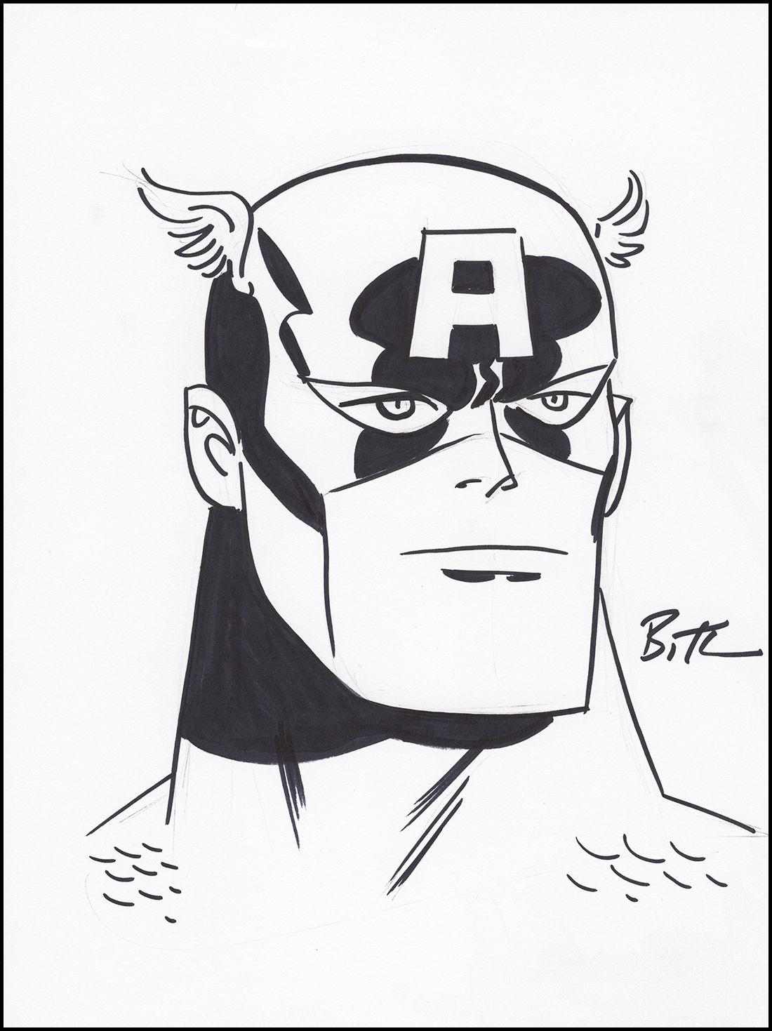 1100x1469 Art Bruce Timm Original Captain America Pencil Amp Ink Drawing