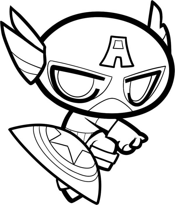 600x700 Captain America, Chibi Captain America Coloring Page Prviously