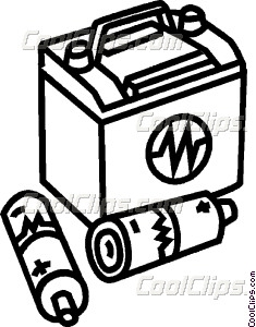 235x300 Car Battery And Aaa Batteries Vector Clip Art