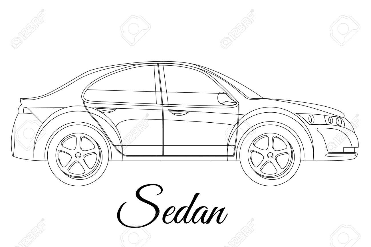 1300x866 Sedan, Saloon Car Body Type Outline Vector Illustration Royalty