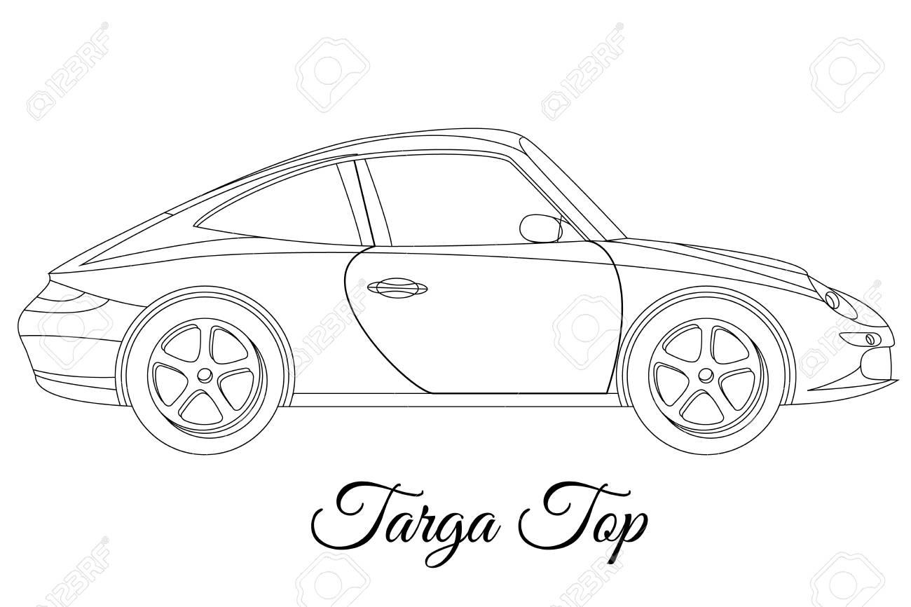 1300x866 Targa Top Car Body Type Outline Vector Illustration Royalty Free