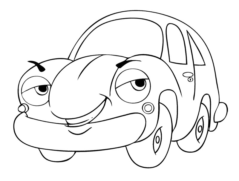 800x606 Cartoon Car Smile Coloring Page Kids Coloring Pages
